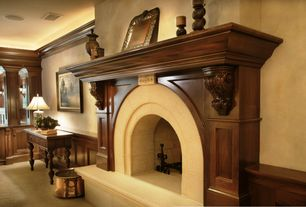 Traditional Living Room with Butler gardner console table, Copper finished firewood bucket