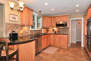 Country Kitchen with dishwasher, full backsplash, Simple granite counters, built-in microwave, can lights, Breakfast bar