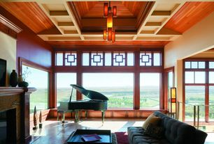 Craftsman Living Room with stone fireplace, sandstone tile floors, Box ceiling, Chandelier