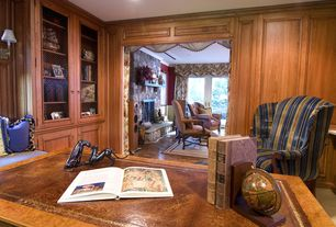 Country Home Office with Crown molding, Built-in bookshelf, Carpet