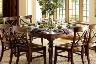 Traditional Dining Room with Standard height, Casement, Hardwood floors