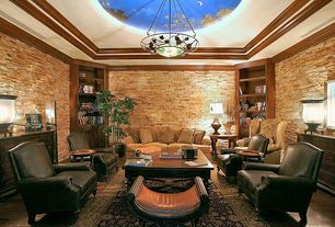 Rustic Living Room with Built-in bookshelf, Chandelier, Cove ceiling, Wood coffee table, Crown molding, Hardwood floors