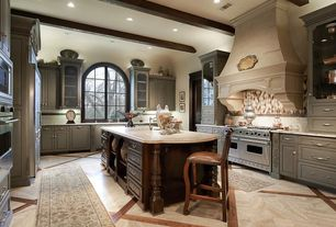 Traditional Kitchen with Flush, Flat panel cabinets, Undermount sink, double oven range, Glass panel, Exposed beam, Paint