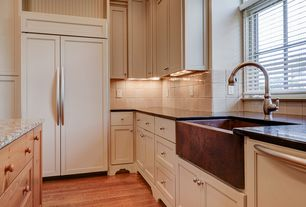 Contemporary Kitchen with Paint 1, Built-in bookshelf, High ceiling, double-hung window, Hardwood floors