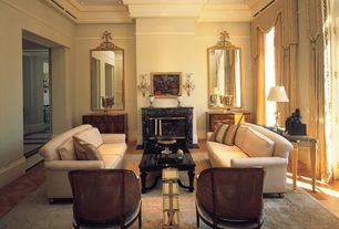 Traditional Living Room with French Neoclassical Gilt-Gesso Mirror, Hardwood floors, 4 Tier Side Table, Built-in bookshelf
