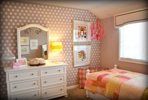 Modern Kids Bedroom with Built-in bookshelf, interior wallpaper, Carpet