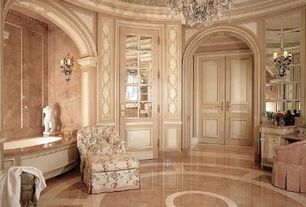 Traditional Master Bathroom with Oregon tile and marble breccia damascatta, Crown molding, Concrete floors, Chandelier, Flush