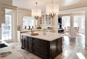 Contemporary Kitchen with MSI Marble Countertops in Botticino Fiorito, Chandelier, Flat panel cabinets, Concrete tile