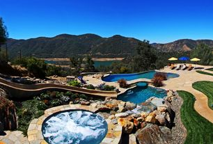 Rustic Swimming Pool with Waterfall, Pool, Pool with hot tub, Water slide