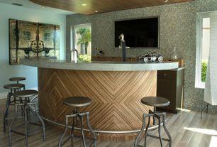 Contemporary Bar with Laminate floors, Built-in bookshelf