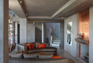 Modern Living Room with Concrete floors, flush light, Columns, Box ceiling