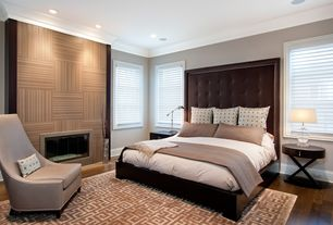 Contemporary Master Bedroom with Hardwood floors, Dg casa delano platform bed, Crown molding, Temsia area rug