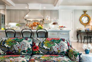 Traditional Great Room with Built-in bookshelf, specialty door, Exposed beam, Crown molding, Standard height, Laminate floors