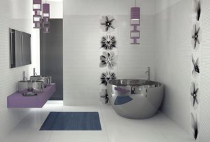 Contemporary Master Bathroom with interior wallpaper, Pendant light, Double sink, Concrete tile , Corian counters