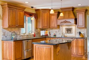 Traditional Kitchen with Custom hood, Limestone Tile, Undermount sink, L-shaped, Simple granite counters, Kitchen island