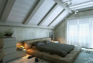 Contemporary Master Bedroom with Standard height, Hardwood floors, flush light, Exposed beam