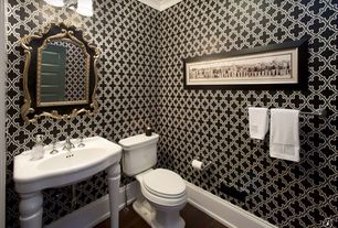 Traditional Powder Room with Console sink, Crown molding, Powder room, Beacon House Ecliptic Black Geometric Wallpaper