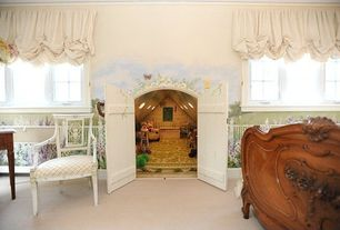 Cottage Kids Bedroom with Crown molding, French Antique Louis XV Style Walnut Bed, Carpet, Barn door