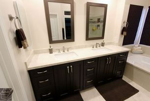 "Contemporary Master Bathroom with Master bathroom, Kichler Distressed Black 30"" High Rectangular Wall Mirror, Rain shower"