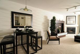 Contemporary Great Room with interior wallpaper, Carpet, flush light, Cement fireplace, Pendant light