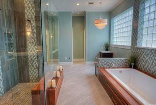 Contemporary Master Bathroom with frameless showerdoor, Chandelier, Master bathroom, Handheld showerhead