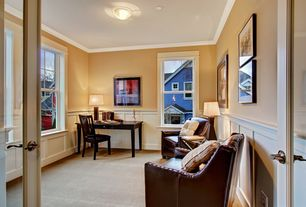 Traditional Home Office with Wainscotting, Crown molding, flush light, French doors, Carpet