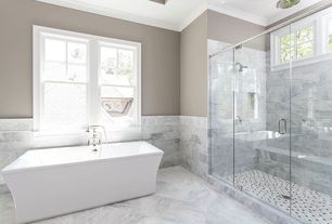Traditional Master Bathroom with Freestanding, Crown molding, High ceiling, Ms international calacatta vagli marble
