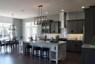 Traditional Kitchen with Kitchen island, Maxim Lighting Fusion Anthracite LED Chandelier, Hardwood floors, L-shaped, Flush