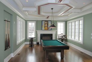 Traditional Game Room with Landmark designer classics collection 167-pb-bk billiard fixture, stone fireplace, Pendant light
