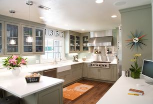 Contemporary Kitchen with U-shaped, dishwasher, Farmhouse sink, Subway Tile, Glass panel, Inset cabinets, Breakfast bar