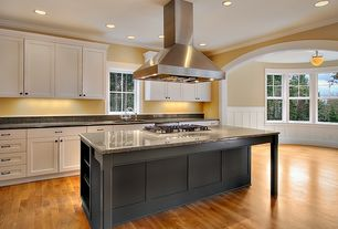Traditional Kitchen with Ms international blanco taupe granite, Flat panel cabinets, One-wall, Simple Granite, Kitchen island