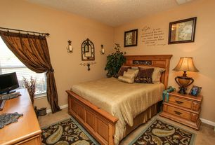 Mediterranean Guest Bedroom with Carpet, Paint, Sarah sleigh bed - high footboard, Standard height, double-hung window