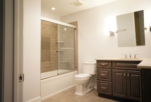 Contemporary Full Bathroom with Simple granite counters, Shower, shower bath combo, Raised panel, Full Bath, can lights