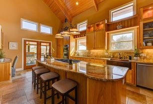 Traditional Kitchen with limestone tile floors, Pacific Colletcion - Maxim 2653WSKB Kentucky Bronze / Wilshire Glass, Flush