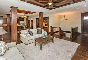 Craftsman Great Room with Hardwood floors, Riverside furniture oak ridge coffee table from wayfair.com, Box ceiling, Columns