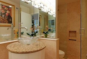 Contemporary Powder Room with can lights, Vessel sink, Powder room, Wall sconce, Shower, flat door, Complex granite counters