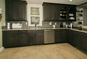 Traditional Kitchen with Glass panel, limestone tile floors, Ceramic Tile, L-shaped, Complex granite counters, Flush