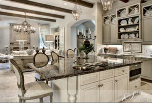 Traditional Kitchen with Kitchen island, Pendant light, Stone Tile, Holbrook 8 Light Chandelier With Faux-Wood Finish, Flush