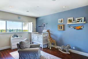 Traditional Kids Bedroom with Hardwood floors, Mural