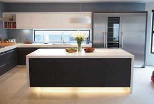 Contemporary Kitchen with Flush, European Cabinets, Kitchen island, Pendant light, Wine refrigerator, Simple marble counters