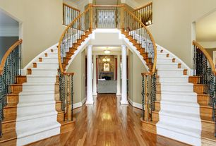 Traditional Staircase with Cathedral ceiling, Loft, Hardwood floors, Double staircase