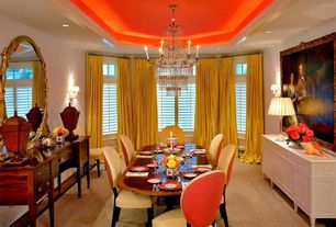 Traditional Dining Room with Paint, Standard height, Chandelier, Carpet, picture window, Crown molding, can lights