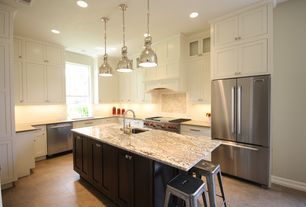 Contemporary Kitchen with L-shaped, Hudson Valley Lighting 2210-PN Polished Nickel Pelham, Marble.com Colonial Gold Granite