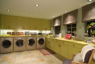 Modern Laundry Room with Standard height, Undermount sink, laundry sink, can lights, Casement, travertine tile floors
