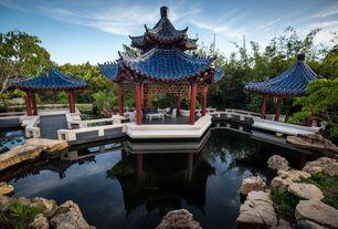 Asian Landscape/Yard with Gazebo, Casey Key Chinese Pagodas, Chinese Pottery Roof Tile, Whitetail Granite Landscape Rock