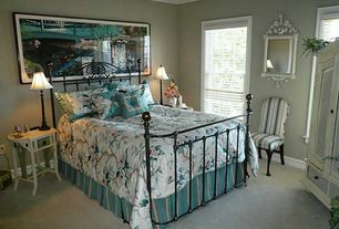 Traditional Master Bedroom with double-hung window, Crown molding, Standard height, Carpet