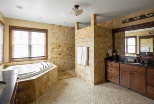 Craftsman Master Bedroom with Interlocking Pavers, Standard height, flush light, Built-in bookshelf, can lights
