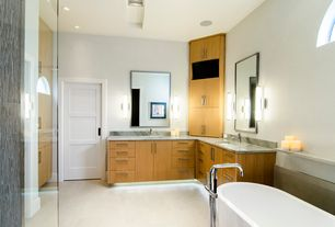 Contemporary Master Bathroom with Wall sconce, European Cabinets, frameless showerdoor, Flush, specialty door, Arched window