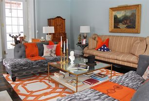 Eclectic Living Room with French doors, Henzler Coffee Table, Vintage Brass Candlesticks, High ceiling, Favreau Design