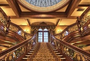 Traditional Staircase with High ceiling, Box ceiling, Laminate floors, Crown molding